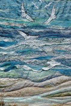 Whitsun at Whitesands. Seascape. seagulls. Wall by FabricsofNature, £295.00