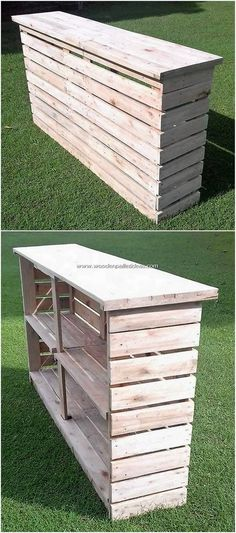 Excellent DIY Creations with Old Wooden Pallets: We truly radically change them into something definitely inspiring and usable for your home. With wooden pallet you can craft out. Pallet Counter, Wood Pallet Bar, Wooden Pallet Projects, Diy Pallet Furniture, Bar Counter, Pallett Bar, Counter Design, Furniture Ideas, Old Pallets
