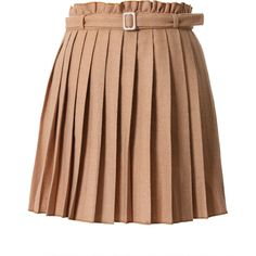 Khaki Pleated Skirt with Belt ($43) ❤ liked on Polyvore featuring skirts, bottoms, chicwish, saia, vintage style skirts, dot skirt, brown pleated skirt, khaki skirts and pleated skirts