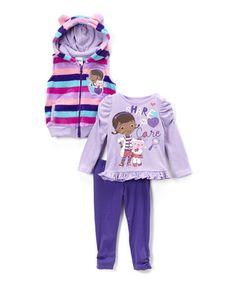 Love this Purple Doc McStuffins Stripe Vest Set - Toddler on #zulily! #zulilyfinds