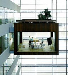 Suspended Meeting Room by Schmidt Hammer Lassen Architect via cubeme #Schmidt_Hammer_Lassen #Meeting_Room #Architecture #cubeme