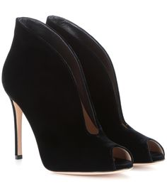 Gianvito Rossi - Vamp velvet peep-toe ankle boots - Immaculate in plush black velvet, Gianvito Rossi's peep-toe booties are equal parts sharp and chic. The pin-thin heel and curvaceous silhouette will add interest to tailored trouser suits and skin-tight denim. seen @ www.mytheresa.com