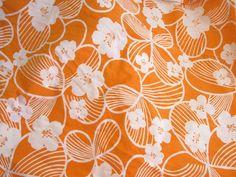 Bright Orange Hawaiian Vintage Floral Fabric Yardage by EmSewCrazy