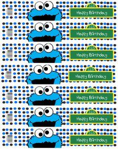 Cookie Monster water bottle labels