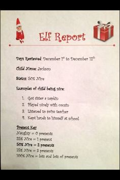 Elf on a Shelf report card! I love how it is specific to the behavior! I think I can handle this weekly for my boys ;-)