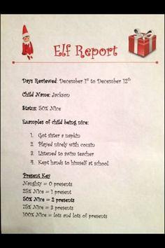 Elf on a Shelf report card!