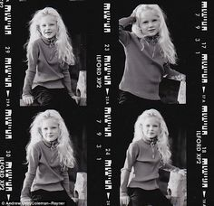 Star in the making: Taylor is pictured, aged five, with tumbling blonde curls, a zip up top and missing teeth
