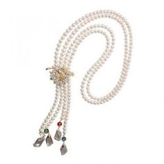 Rhinestone Pendant Accent Freshwater Pearl Necklace