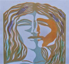 Mirror image linocut with chine colle