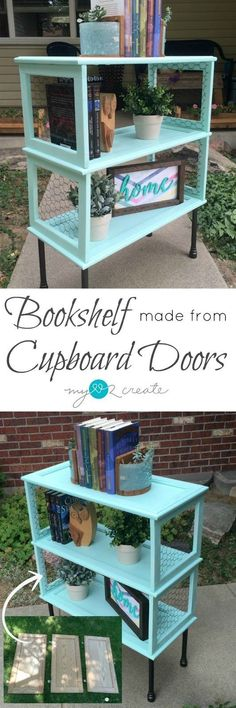 Make a beautiful and unique Bookshelf from Cupboard Doors, the perfect repurposed project for your home.  Follow this picture tutorial to learn how at MyLove2Create.