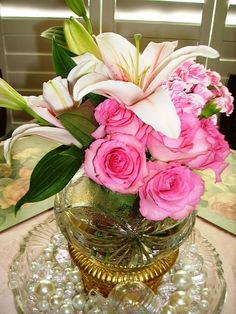 Signature Special Touches ~ Pave` Grande` Floral Bouquet of Star Gazer Lilies, Pink Roses & Pink with White verigated Mini-Carnations.