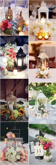 50 ideas de centros de mesa con faroles. Lantern wedding centerpieces.