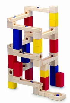 Wooden Marble Run Toy Building Blocks Game 54 piece by HSL - Shop Online for Toys in the United States