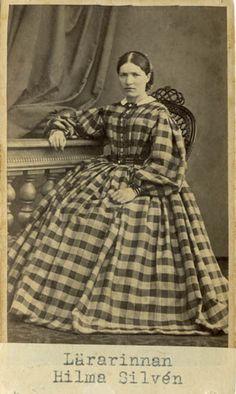 """Teacher Hilma Silvén"", Swedish, 1860's (misdated by the museum). Bohusläns museum, nr. UMFA53226:1477"