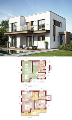 Stay Home. Home Building Design, Home Design Plans, Building A House, Contemporary House Plans, Modern House Design, Model House Plan, Bauhaus Style, Prefabricated Houses, House Roof