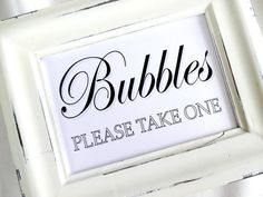 Bubbles Please Take One Wedding Sign -  White or Ivory. Give the adults sparklers and the kids bubbles!