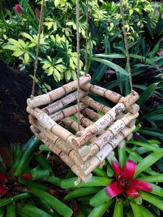 Hanging Wine Cork Orchid Basket by coastalcollections25 on Etsy