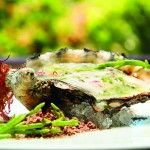"The ""Park Oysters,"" are grilled and topped with mignonette foam. This dish and more in ""Eclectic Avenue"": http://hilxry.com/L01ztT (Dec 13/Jan 14)"