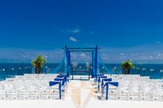 Another view - Blue beach wedding setup. Many of you have asked for pics of our actual setup - here it is.