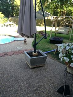 Concrete Planter Base For Offset Patio Umbrella