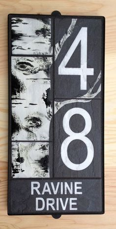 Birch House Number sign - one of a kind hand glazed custom design Fusion Pro Grout, Peeling Paint, Tile Murals, Address Plaque, Commercial Flooring, House Numbers, New Sign, Black House, Birch