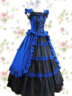 Estilo aristocratico ^^  Royal Blue And Black Bandage Satin Classic Lolita Dress