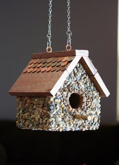 birdhouse built from scrap wood pebbles and by AlteredHouses, $42.00