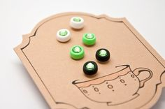 Stud earrings, green set of 3 pairs, polymer clay with glass crystal, handmade on Etsy, $6.00