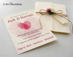 Davetizm, Düğün Davetiyesi, R03, Romance, Davetiye Seti, Tasarım, Wedding, Invitation, Design, Romatizm, Parmak İzi, Fingerprints, Güller, Roses, Çiçek, Flower, Name Tags, İsimlik