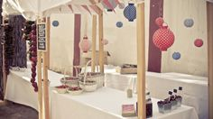 WEDDING DECOR. Rustic red fruits decorated stalls