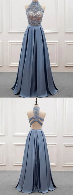A-line Halter Floor-Length Satin Prom Dresses With Appliques HX00106 #promdress #steelblue #lace #vintage