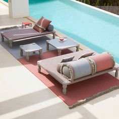 Spring is here so we've rounded up 10 outdoor furniture designs on Dezeen Showroom to take full advantage of the warmer weather. Lounge Chair Design, Sofa Design, Outdoor Furniture Design, Contemporary Furniture, Outdoor Rugs, Outdoor Living, Outdoor Decor, Outdoor Rocking Chairs, Natural Swimming Pools