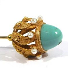 This is a gorgeous and unique solid 14k gold hatpin (acid tested and pin and top are 14k). Art nouveau period circa 1910. One pearl has been replaced and is drilled (e.g. has a hole visible) but size etc. is a good match. Stick Pins, Hat Pins, Art Nouveau, Period, Gemstone Rings, Turquoise, Pearls, Gemstones, Hats