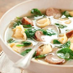 Sausage and Tortellini Soup w/ Spinach. - Sub the tortellini with potato gnocchi for a nice change.