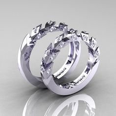 Reserved  Modern Italian 10K White Gold Diamond by artmasters, $1399.00