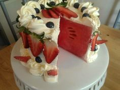 Watermelon cake with whipped cream