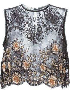 embellished lace panel top