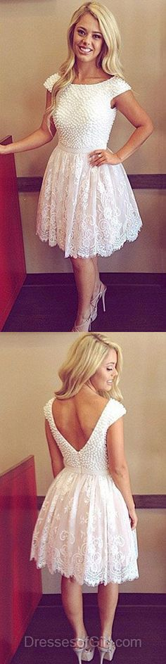 White Homecoming Dresses, Short Prom Dresses, Modest Party Gowns,122