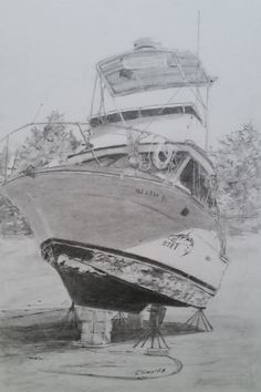 Dry Dock in pencil by Rose Sinatra
