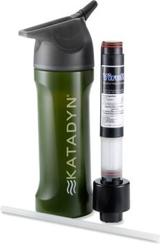 Katadyn MyBottle Water Purifier -- 3-stage purification process eliminates viruses, bacteria and protozoa. You can literally drink any water with this thing. BPA-free. Holds 24 fl. oz. of water after displacement of the purifier.