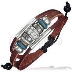 Triple Wrap Rope Bead Tube Crystal Circle Adjustable Leather Bracelet. Starting at $1