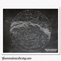 Constellation Map Stars Map Chalkboard Astronomy Poster Geekery Science Gift Science Art Office Decor 16x20 Gifts for Teachers Office Decor