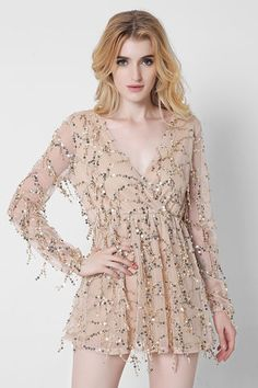 f994a5e5f7c1 Beige V Neck Sequins Mini Dress Lace Summer Dresses