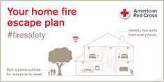 Your Home Fire Escape Plan. How long will it take you to escape your home, if it is one fire? Learn, practice and be Red Cross Ready! #FireSafety #RedCross #Preparedness #HomeFire