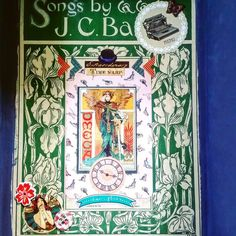 Final cubby background is a vintage cover for sheet music. It had been detached when I found it and it was too pretty to simply sit in a box. #sheetmusic #sheetmusiccover #songbook #artnouveau #vintagepaper #vintage #vintagestyle #diydecor #diy #handmade #repurposed #trashtotreasure #mixedmedia #officestyle #shelf by vieuxpapiers