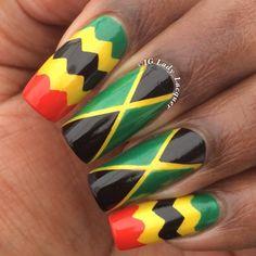 Jamaica flag nails,Jamaica,Caribbean