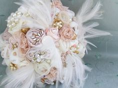Vintage Fabric Pearl Lace Feather Brooch Wedding Bouquet 10 beautiful with red too! Feather Bouquet, Fabric Bouquet, Wedding Brooch Bouquets, Hand Bouquet, Fabric Flowers, Vintage Bridal Bouquet, Bridal Lace, Floral Wedding, Wedding Flowers