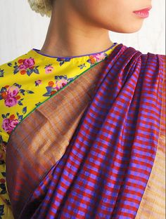 Buy Bali Red-Blue Chanderi Handwoven Saree By Raw Mango Online at Jaypore.com