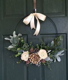 Love the simplicity of this wreath. I would also hang somewhere in my home.