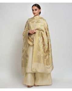 Beige-Gold Banarasi Zari Handwoven Pure Monga Georgette Dupatta